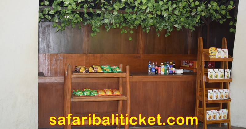 snacks and soft drinks corner available at bali safari marine park before enter the tram